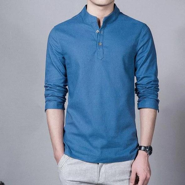 BYWX Men Casual Lapel Long Sleeve Workout Plus Size Shirts