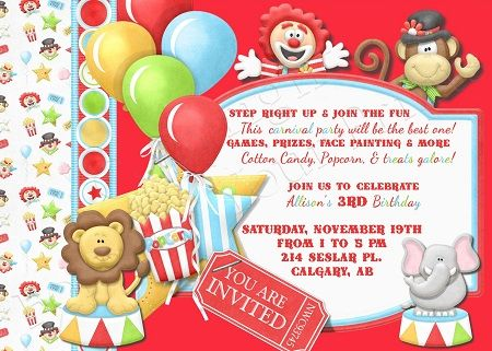 Awesome Circus Birthday Party Invitations Ideas Download This - Birthday invitation cards circus