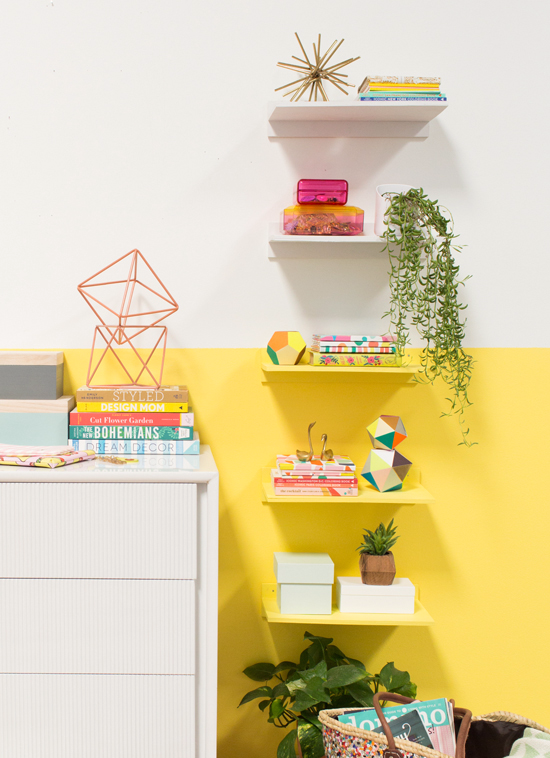 Color Blocked Floating Shelves Aesthetic Room Decor Yellow