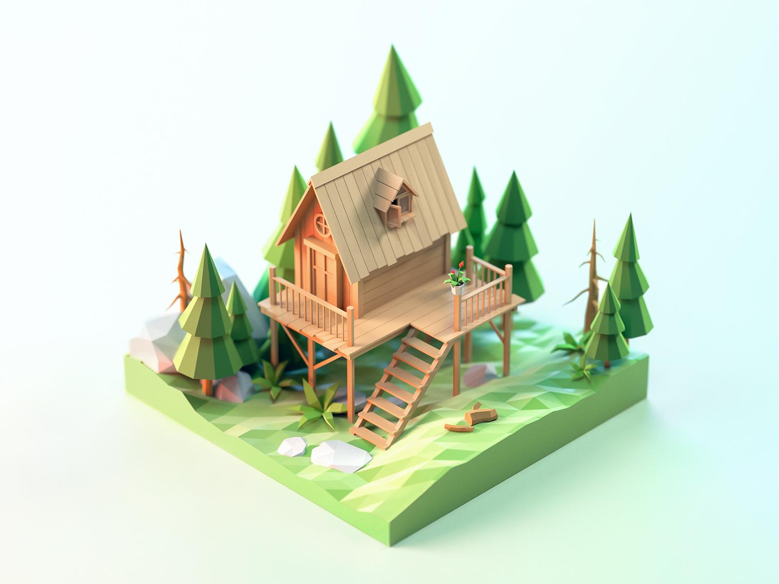 Chalet By Jzhdesigner Duckduckgoosegameonline Dessin Isometrique Paysage Jeux Video Zbrush