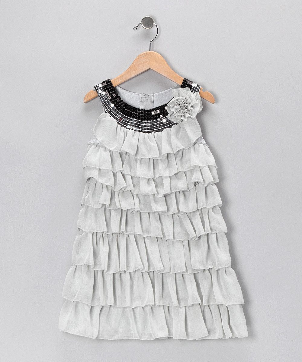 485367354284 Love this Gray Sequin Ruffle Dress - Toddler   Girls by Paulinie on ...