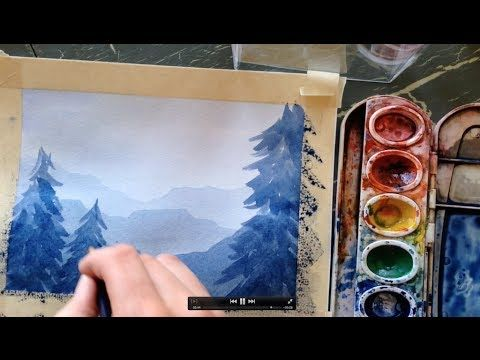 Watercolor Trees In The Mist Youtube Arbres En Aquarelle Art