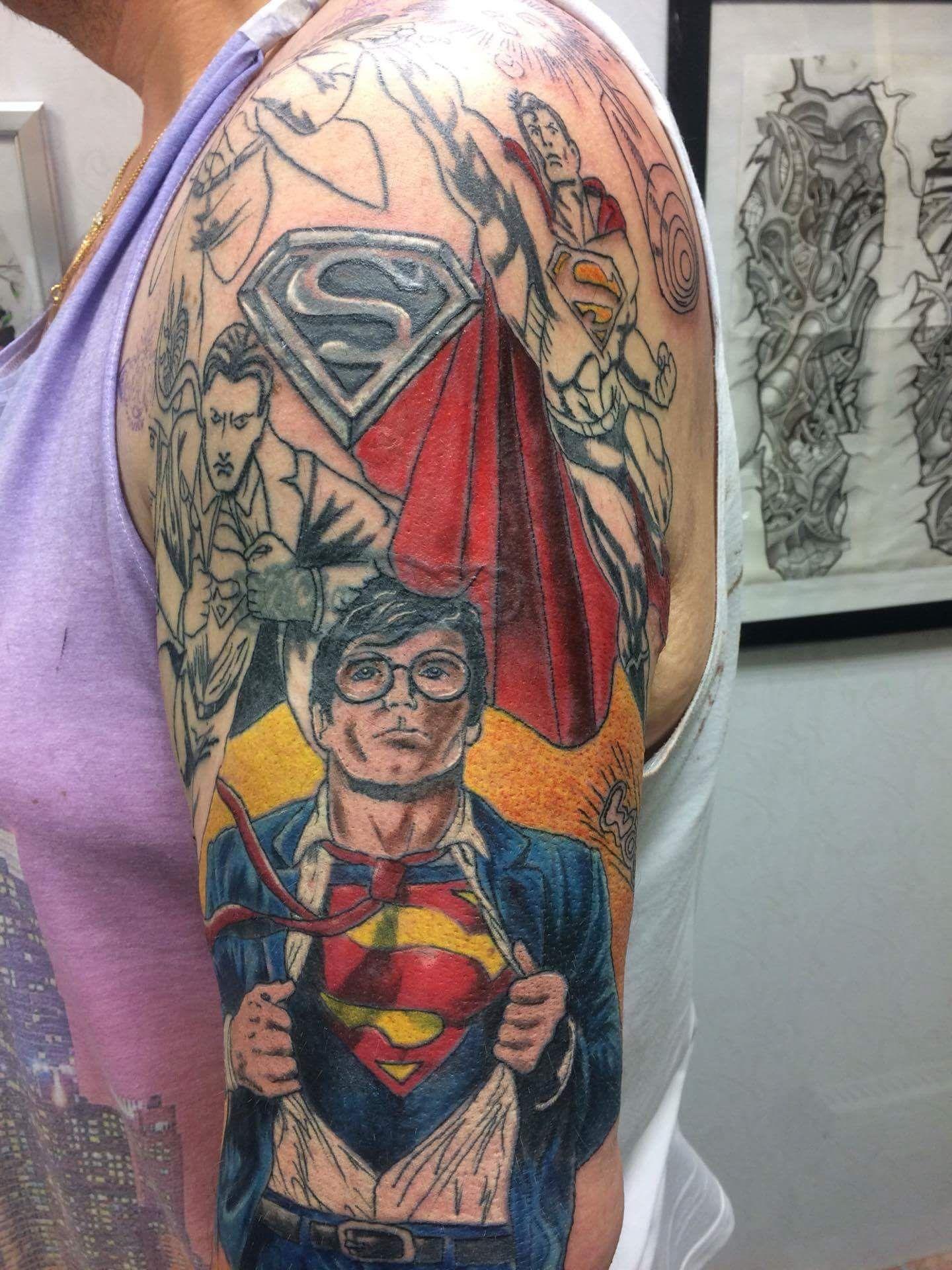 Superman tattoo sleeve superman pinterest for Superhero tattoo sleeve