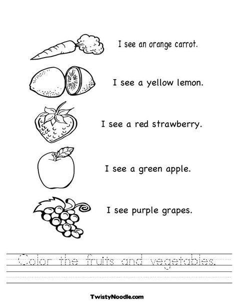 Color The Fruits And Vegetables Worksheet Fruits And Veggies Fruits And Vegetables Worksheets Worksheet for kids pdf