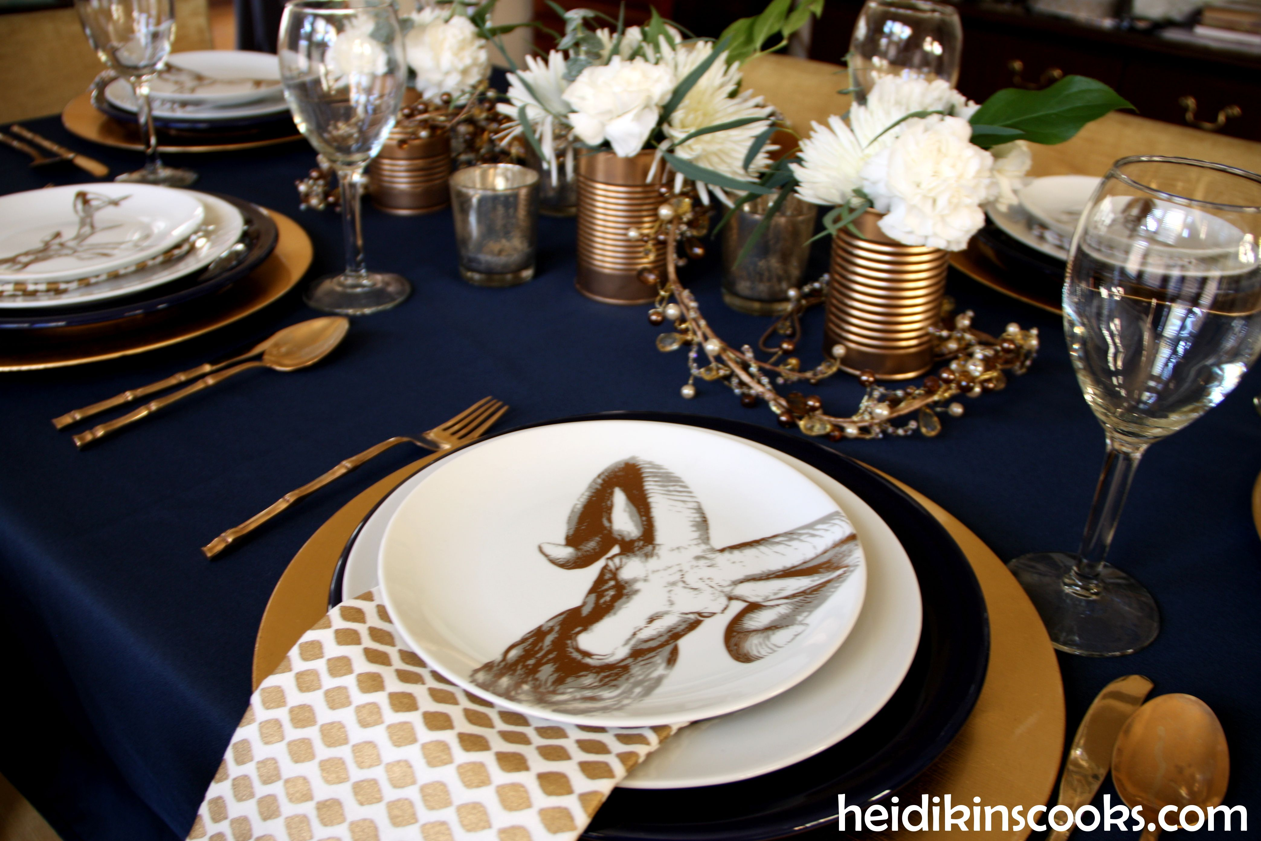 Table Setting With Gold And Navy And Antlers Blue Table Settings Blue Thanksgiving Decor Gold Table Setting