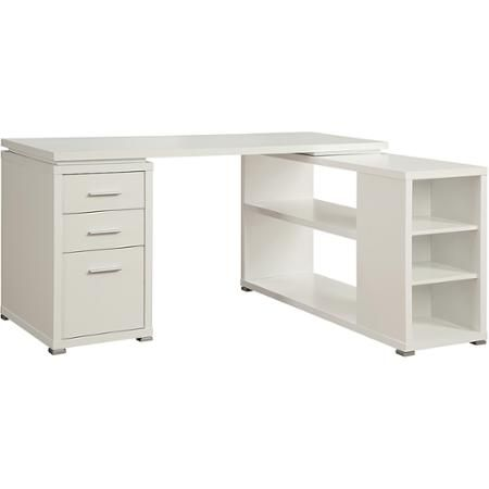 Coaster Yvette Collection White L Shaped Reversible Desk Walmart Com White L Shaped Desk Cheap Office Furniture Desk With Drawers
