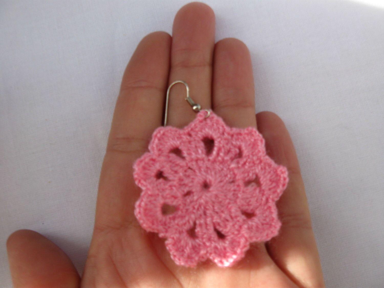 Pink round crochet earrings, cotton earring, flower