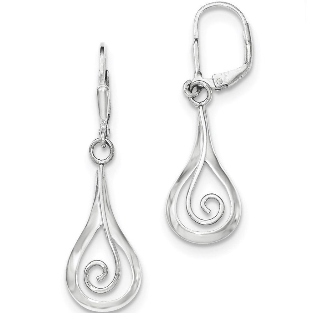 925 Sterling Silver Swirled Teardrop Lever back Dangle Earrings