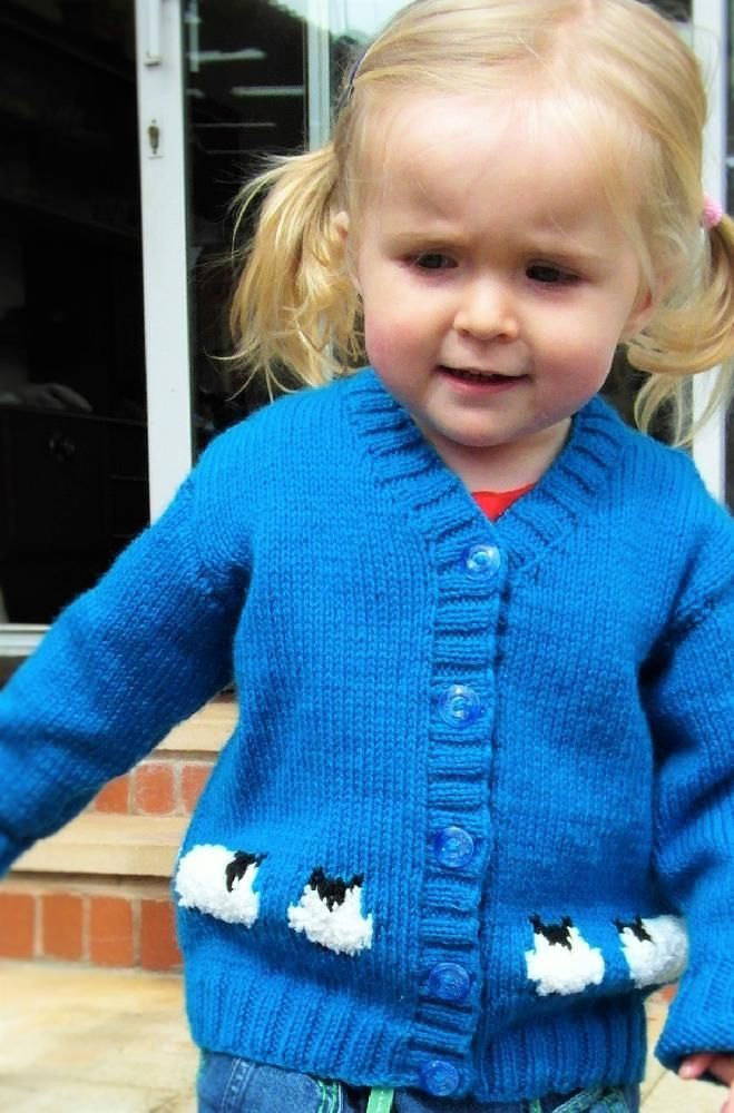 Knitting pattern for a child's jacket which features soft, fluffysheep. Knitted in stocking stitch and Intarsia fromlarge coloured charts supplied with the pattern. The pattern is also colour coded for each size to make the pattern easier to follow. This pattern covers the sizes: 1-2 years, 2-3 years, 4-5 years, 6-7 yearsThis will be a firm favourite for any youngster and can be knitted in your own choice of colours to make it truly unique.