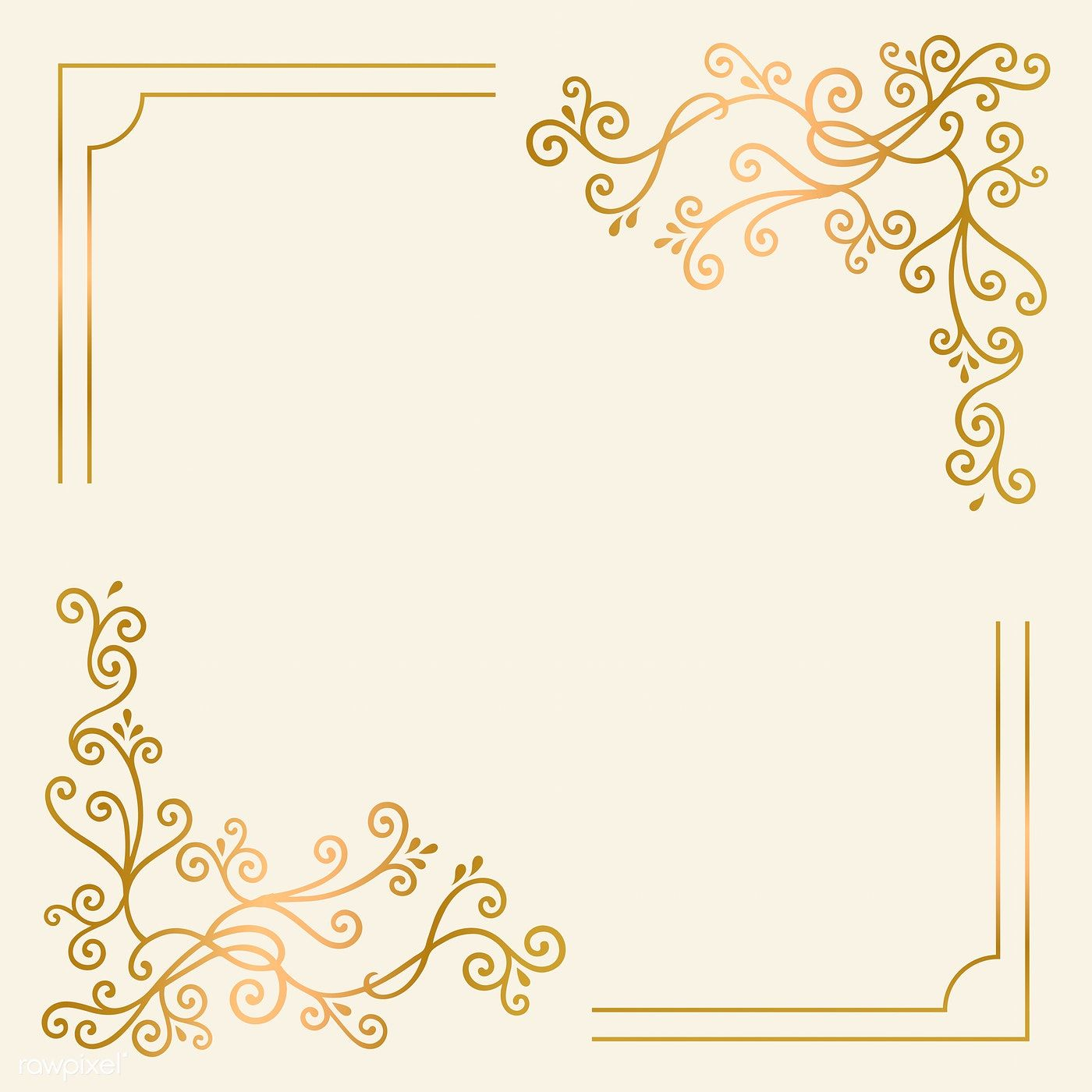 Golden vintage ornament frame vector free image by