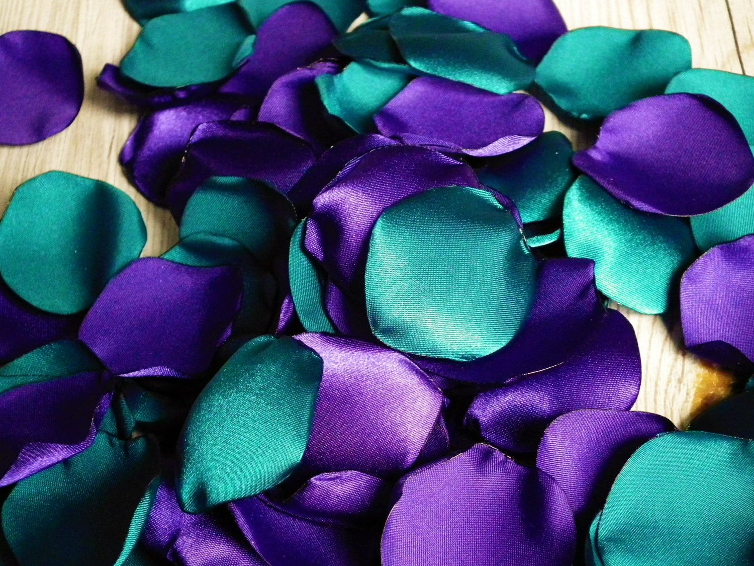 Purple And Teal Satin Rose Petals Blend Flower Girl Basket With