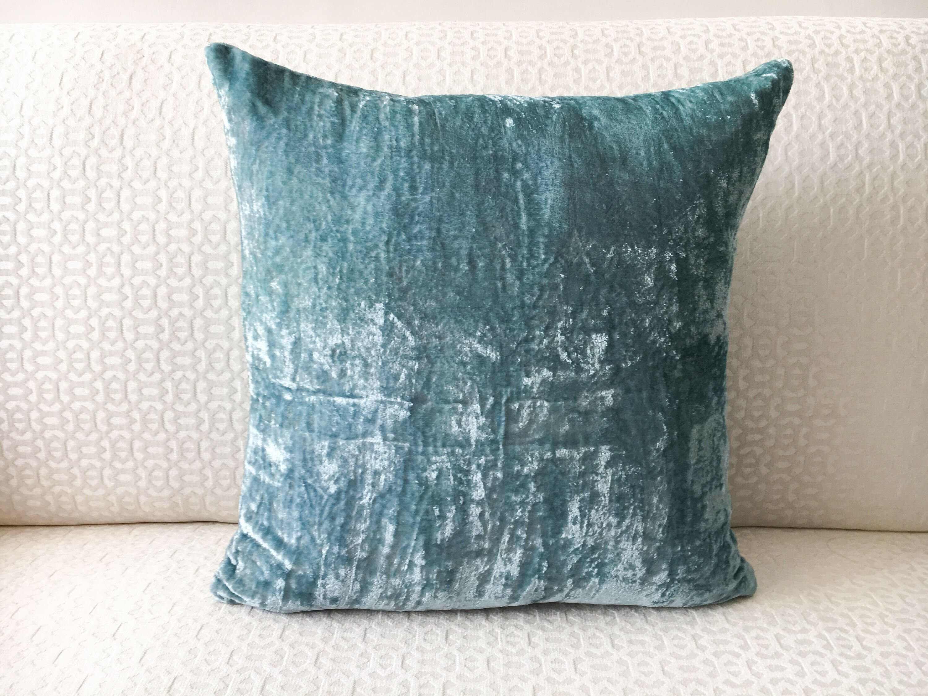 Teal Blue Velvet Euro Sham 26x26 Pillow Cover 24x24 22x22 20x26 20x36 28x28 Silk Case For Sofa By Drapely On Etsy