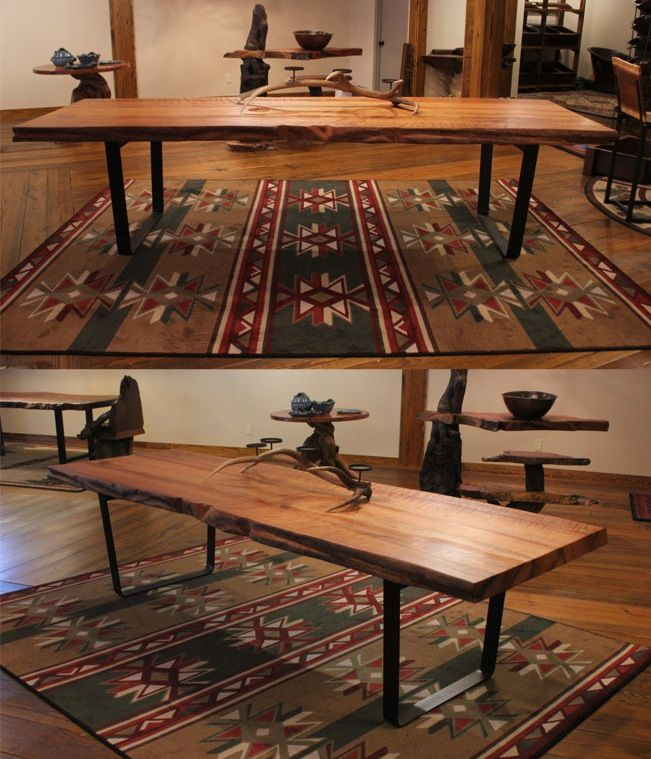Reclaimed Wood Dining Table / Live Edge Rustic Conference