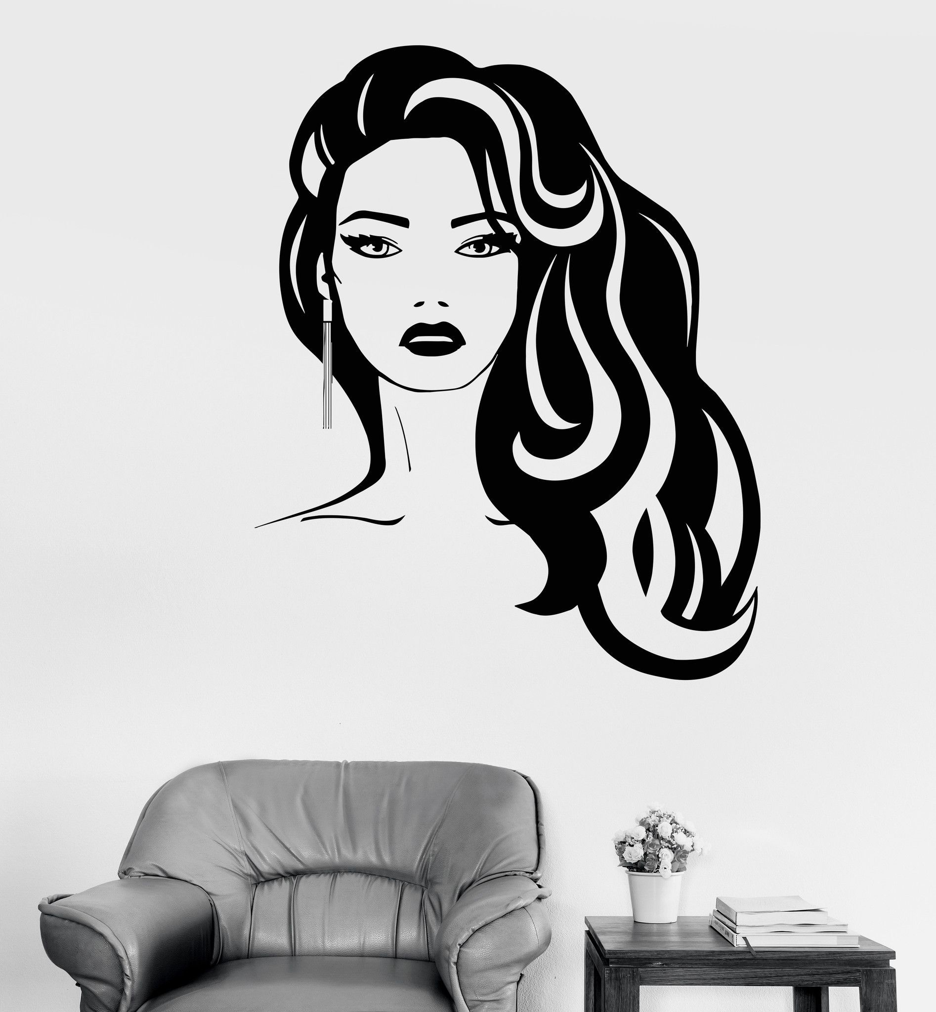 Vinyl Wall Decal Beauty Hairdressing Salon Fashion Girl Hair - Window stickers for businessunisex hair scissors vinyl window sticker decal salon