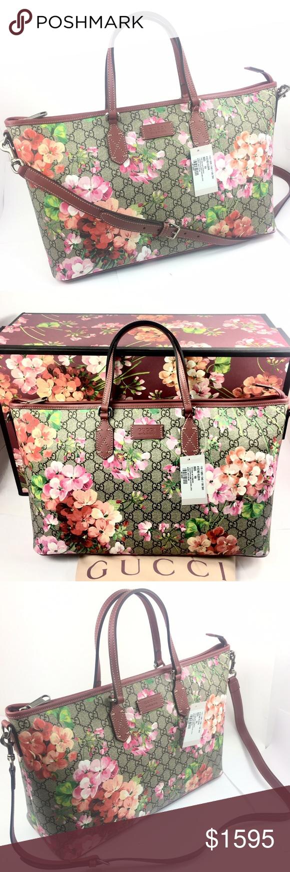 ca7f6cebda2 Gucci Bloom GG Supreme ZipTop Tote w/Strap #410748 - GG Supreme Coated  Canvas