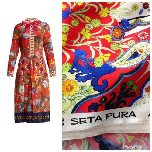8a5c6252d05a6 100% Silk Charmeuse SETA PURA Made In Italy Fabric Red Floral By The ...