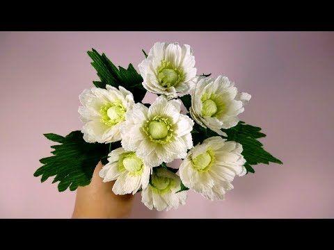 Хризантема из гофрированной бумаги своими руками