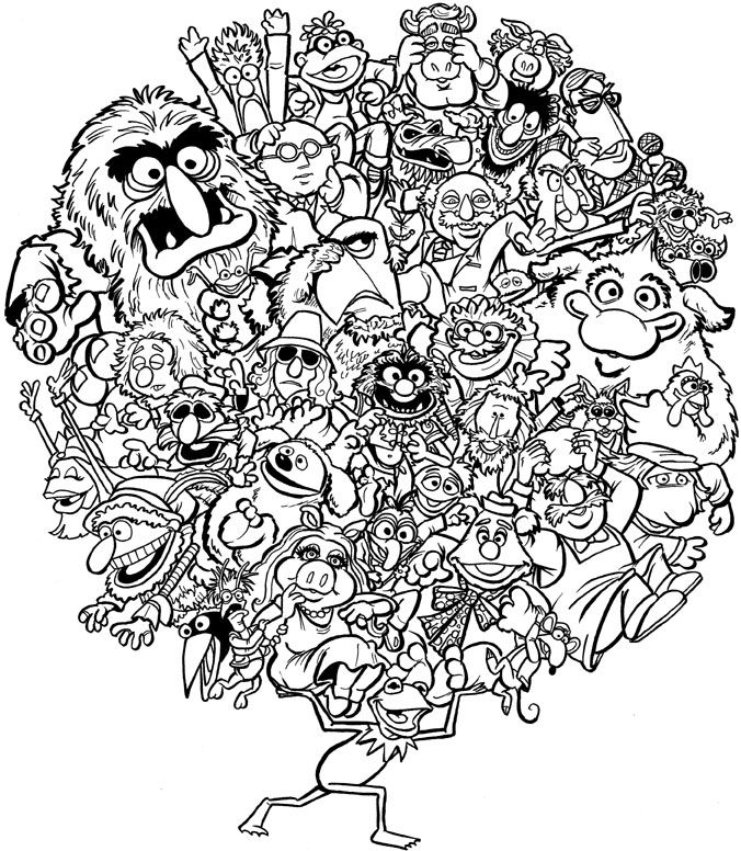 Muppet characters what a fun photoshop coloring for How to make a coloring book page in photoshop