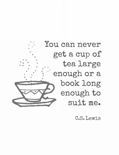 Tea and book printable - quote from C.S. Lewis. Free printable art from theprettybee.com #printable