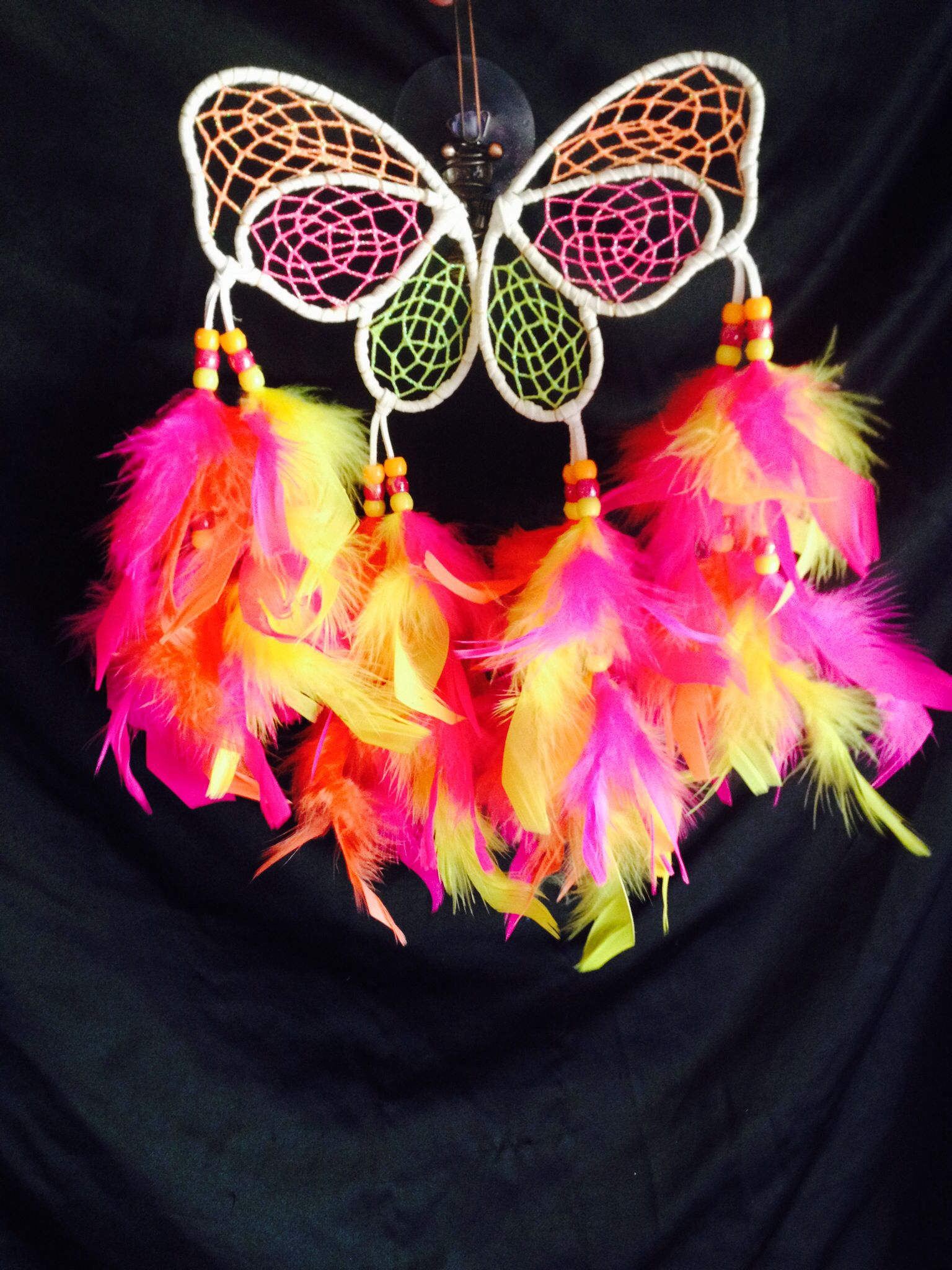 """4.5"""" butterfly window hanging dream catcher. Measures 9"""" total length. Limited availability. $25"""