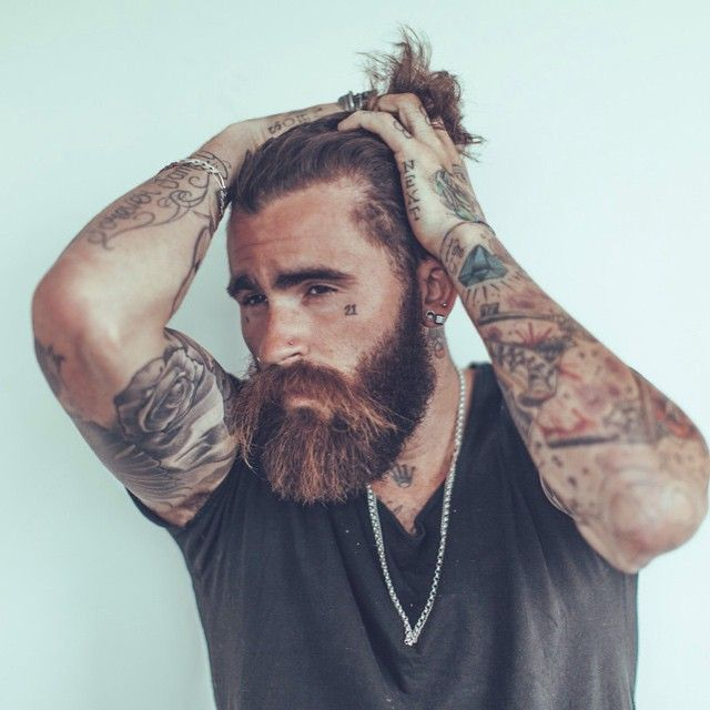 Chris perceval full thick beard big mustache beards for Bearded tattooed man