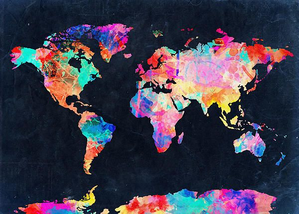 World Map Watercolor Wall Tapestry By BekimART