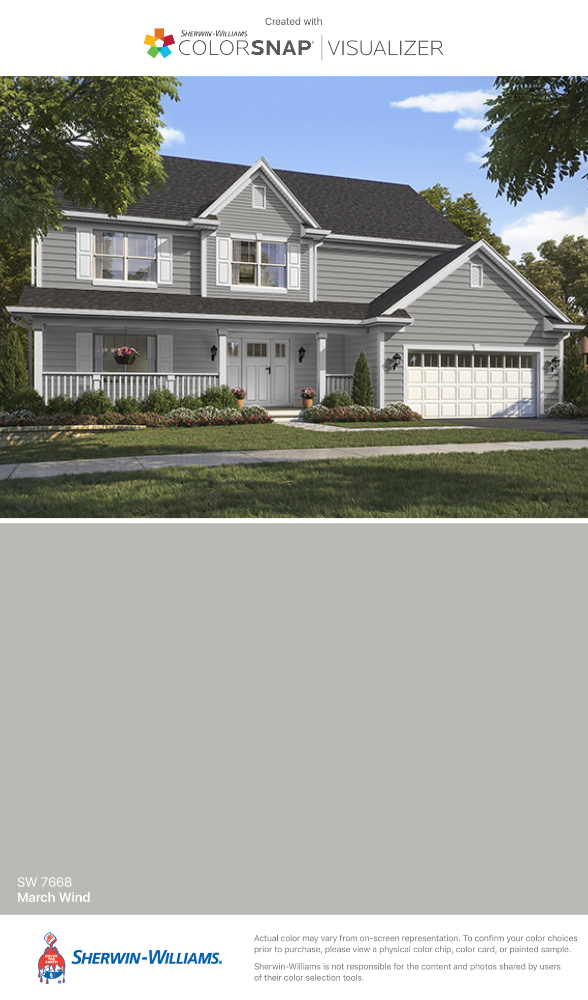 I found this color with colorsnap visualizer for iphone Sherwin williams march wind exterior