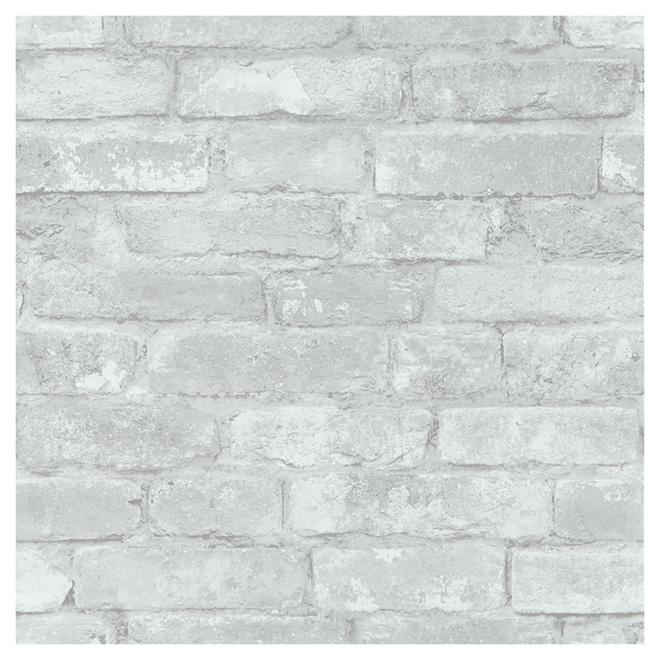Papier Peint Imitation De Briques 20 5 X 18 Gris Blanc Cuisine