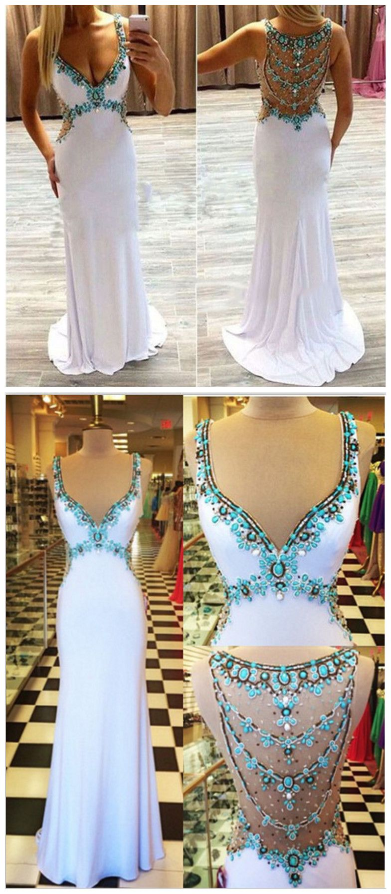 White prom dresses long turquoise crystals vneck open back