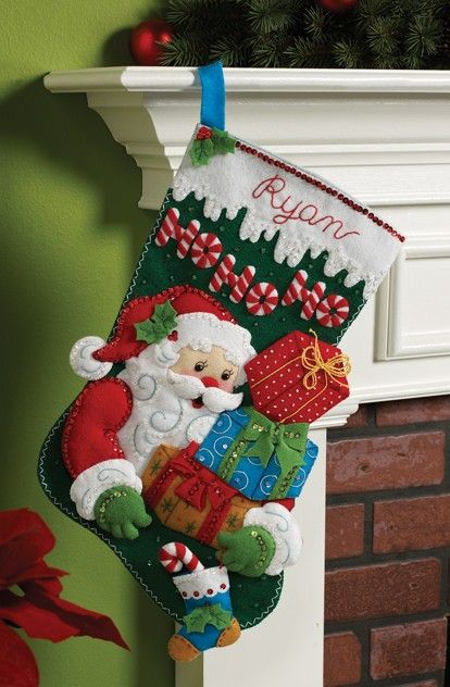 Bucilla Felt Applique Christmas Stocking Kit Ho-Ho-Ho Santa natal