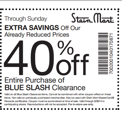 graphic regarding Stein Mart Printable Coupon named Conserving 4 A Sunny Working day: 40% Off Clearance At Stein Mart