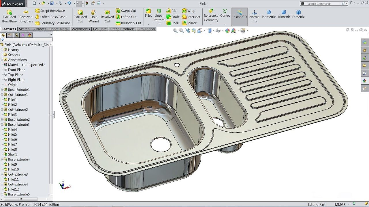 Solidworks Tutorial Sketch Kitchen Sink In Solidworks