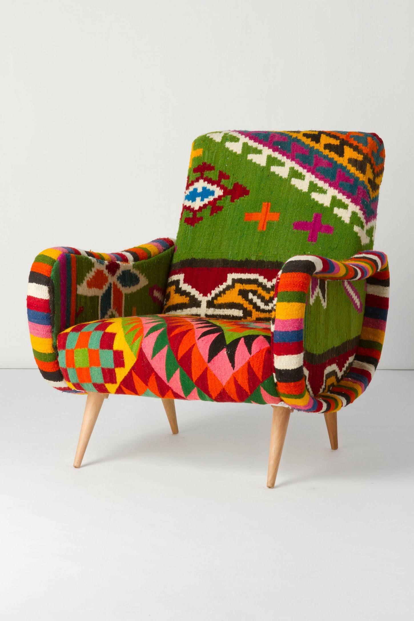 One-Of-A-Kind Berr Armchair, Green Field - Kilim Fabric