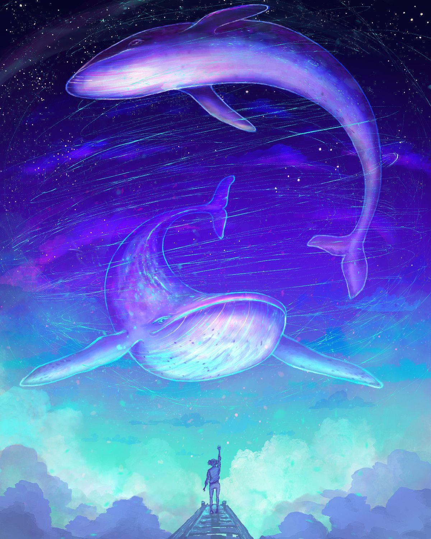 Whalien Szonja Gyetvai On Artstation At Https Www Artstation Com Artwork Xbjel3 Drawing Scenery Whale Art Mythical Creatures Art Bts purple whale wallpaper