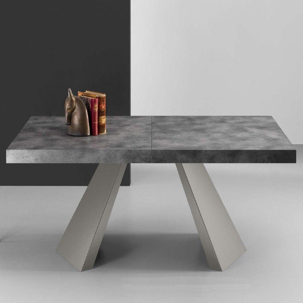 Eurosedia - Tavolo Pechino allungabile in folding laminato cemento ...