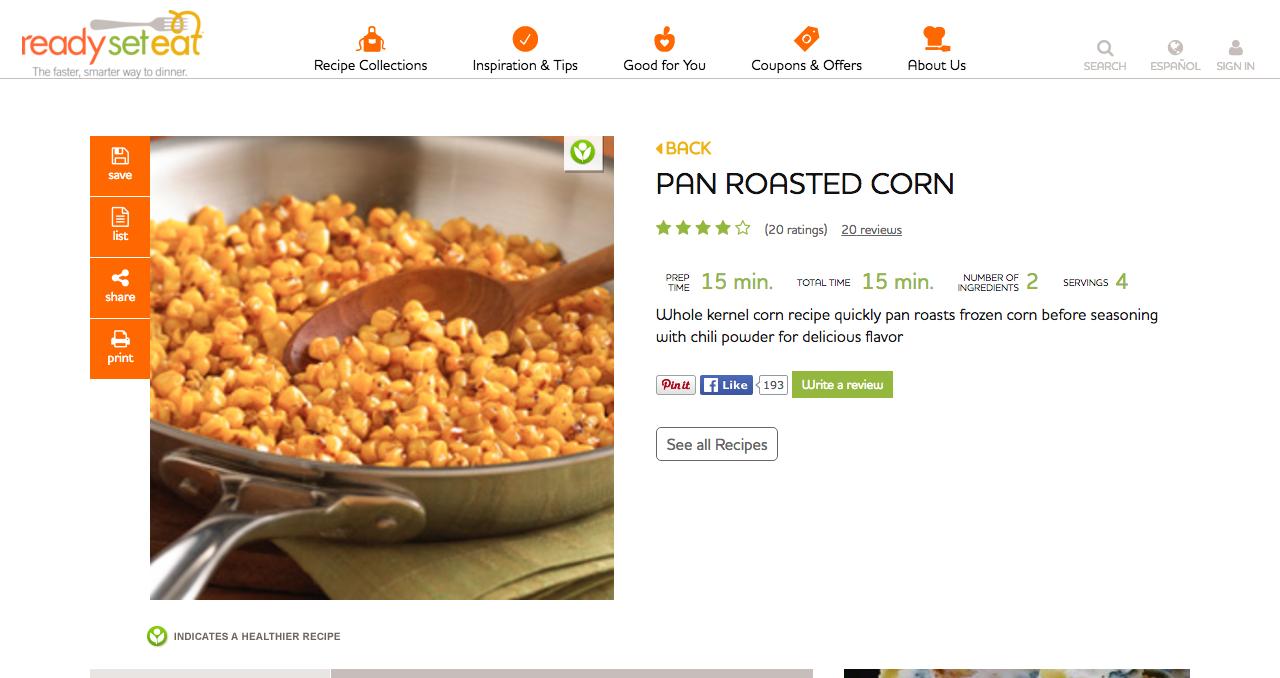 Pan Roasted Corn Recipe Roasted corn, Recipes