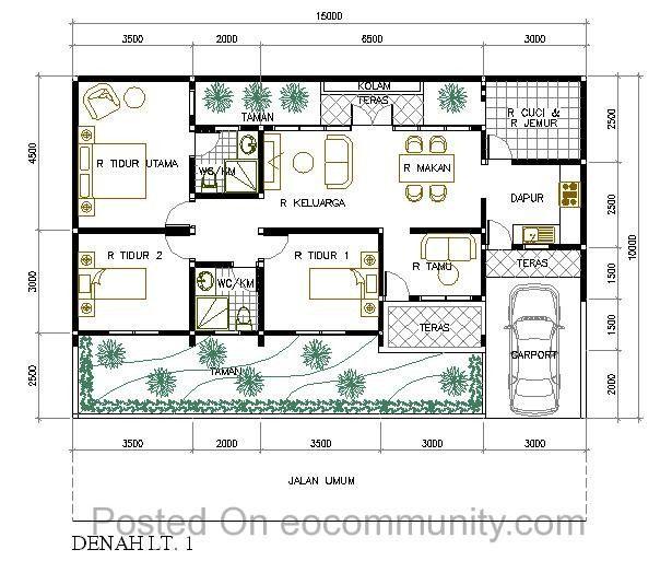 Denah Rumah Ukuran 7x12 Meter Kamar 3 1 Rumah Di 2019 House