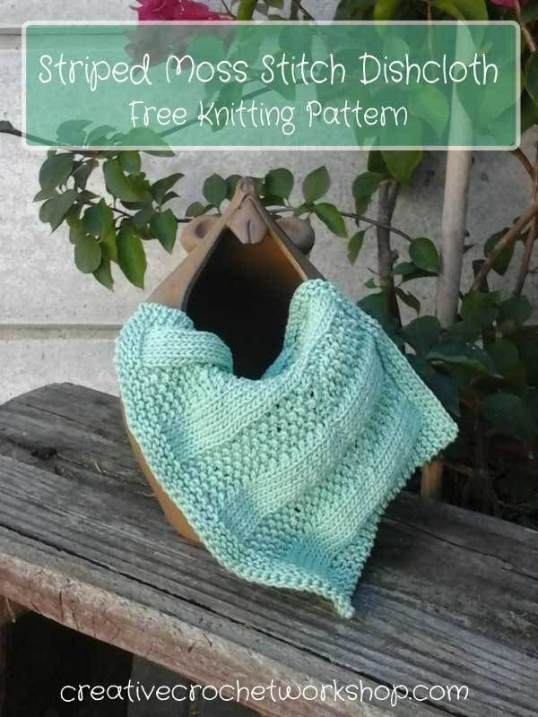 Striped Moss Stitch Dishcloth Free Knitting Pattern Creative