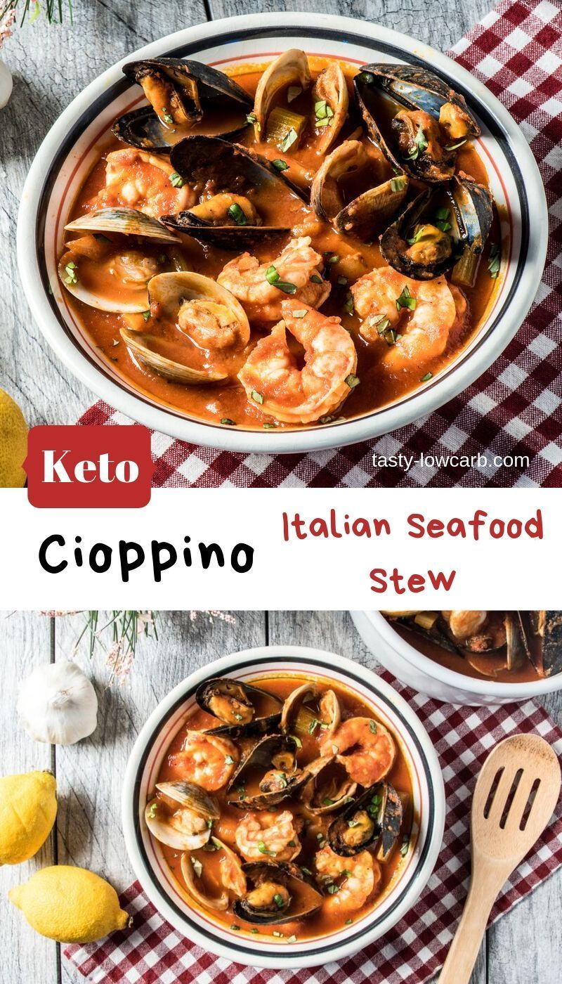 Keto Cioppino Italian Seafood Stew - Tasty Low Carb