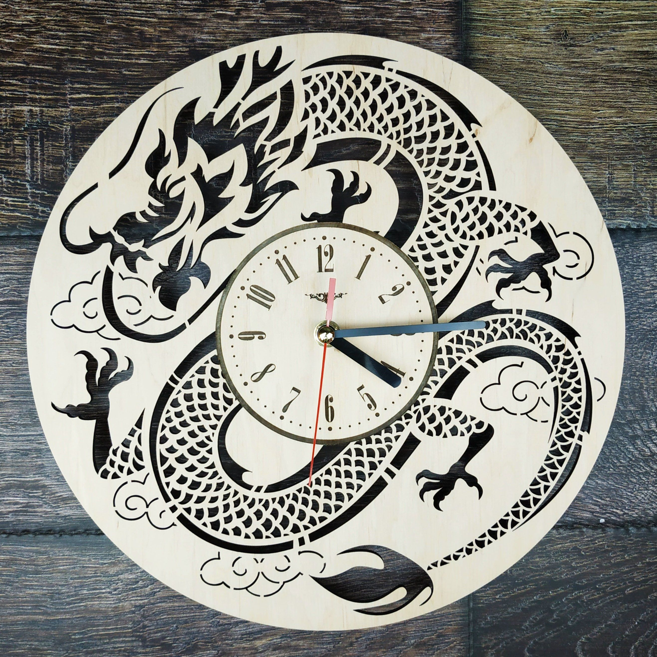 Japanese Dragon Wall Clock Wood Decor For Home Office Kitchen