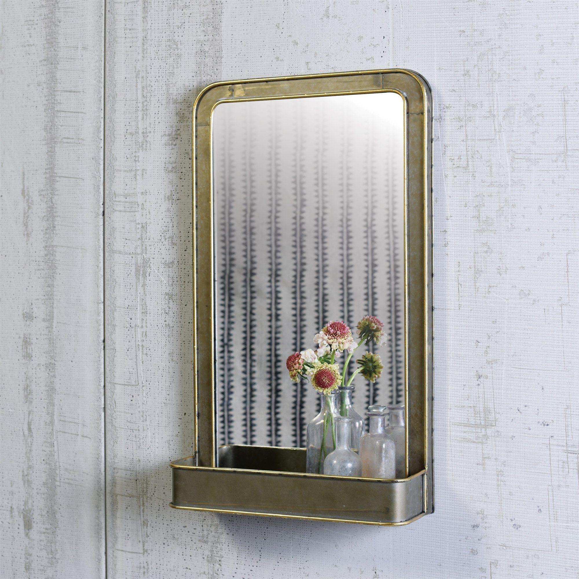 Galvanized Metal Archer Mirror with Shelf Metal shelves