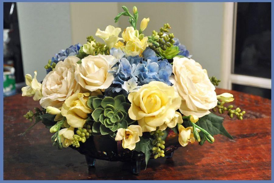 wedding centerpieces fake flowers%0A DIY Floral Centerpieces   wedding artificial flower centerpiece blue diy  diy floral centerpiece flowers ivory reception