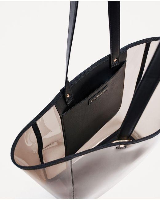 ce607fe4e275 Zara | Black Transparent Tote | Lyst | BAGS in 2019 | Bags, Bag sale ...
