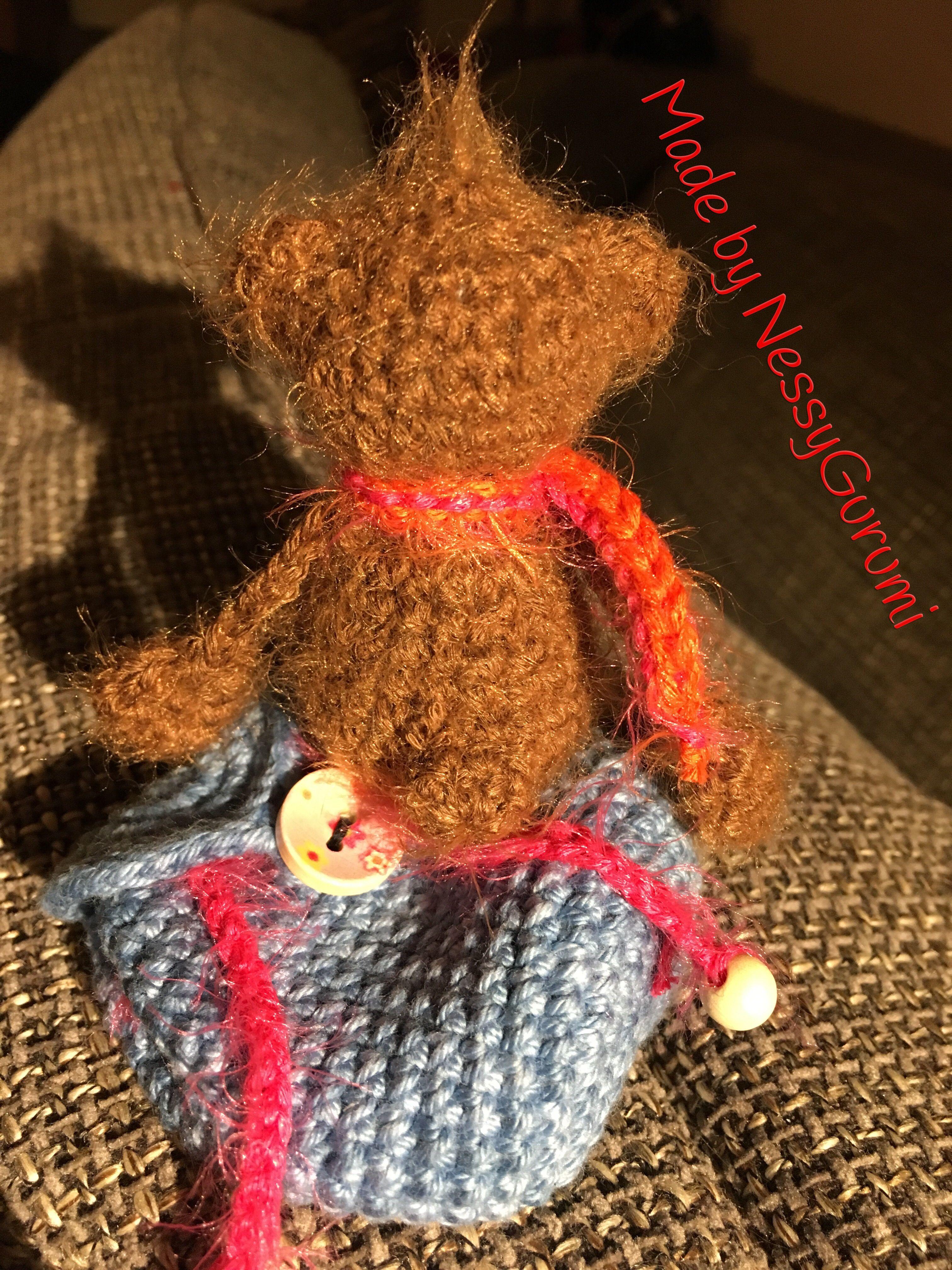 Bär Gehäkelt Crochet Bear Glücksbringer Kleine Tasche Gehäkelt