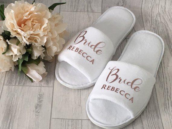 WHITE WEDDING SLIPPERS PERSONALISED GLITTER BRIDAL SPA OPEN TOE HEART BRIDESMAID