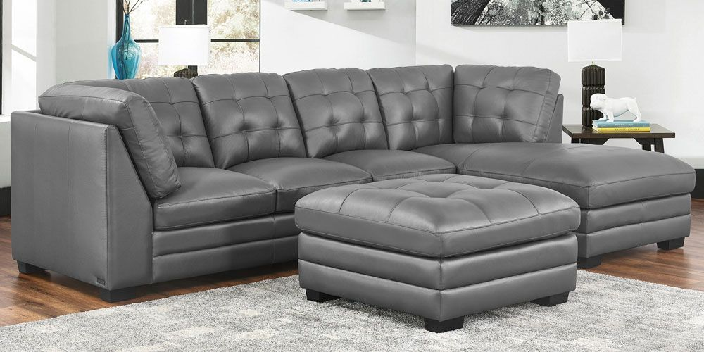 Lawrence Top Grain Leather Sectional with Ottoman Living ...