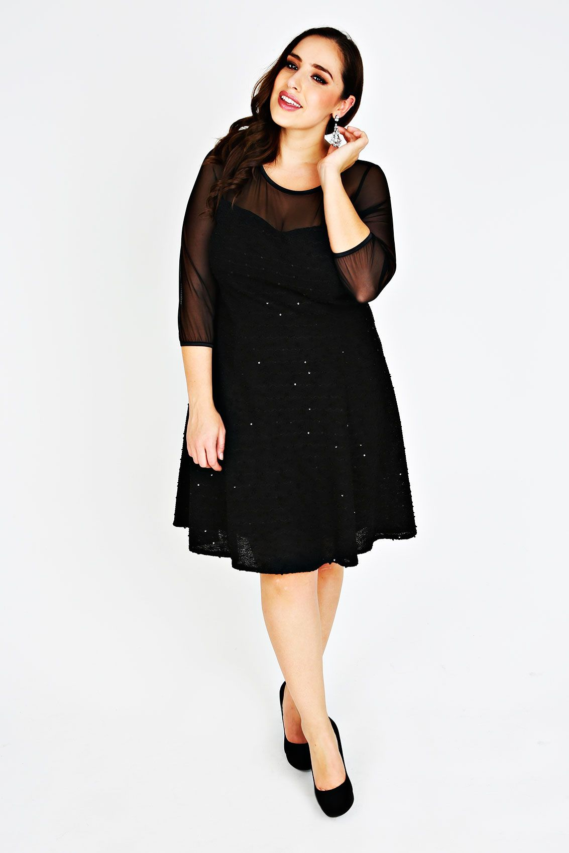 Black sequin fit and flare dress with mesh yoke