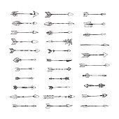 Collection of hand drawn arrows. Vector illustration