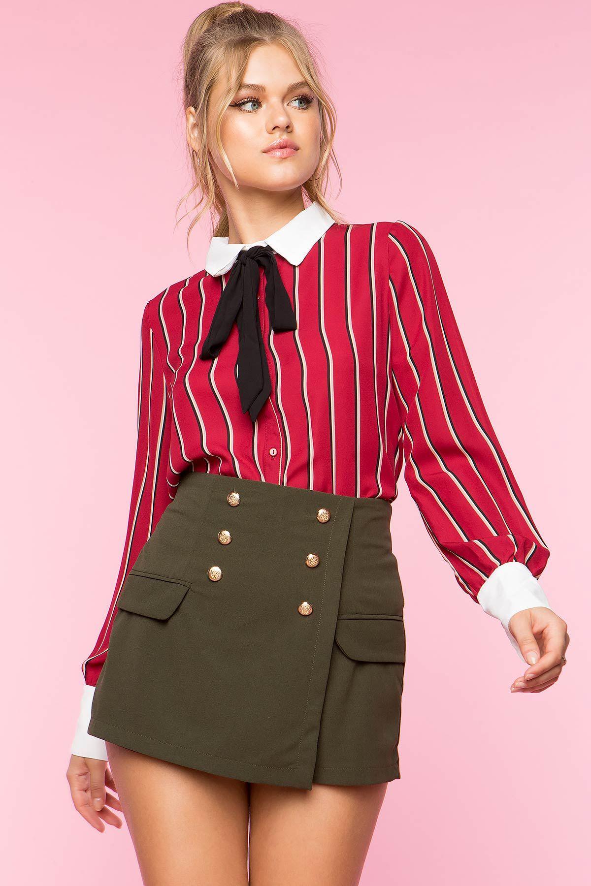 ff276200eb4c4 Double Button Skort | Fashion | Skort, Mini skirts, Skirts