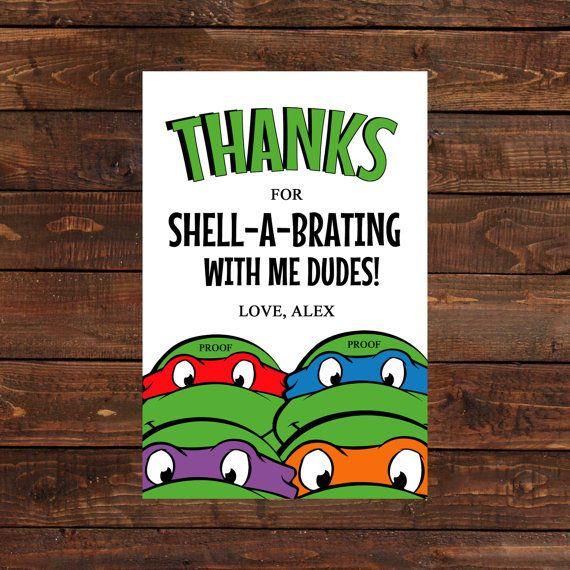 Teenage Mutant Ninja Turtle Thank You Card By